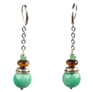 Simple Long Style Round Malaysian Jade Oblate Tiger Eye Stone Bead Dangle Earrings With Lever Back Hook
