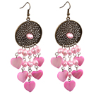 Classic Design Drop Shape Baby Pink Seashell Beads Earrings