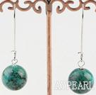 Simple 16Mm Round Phoenix Stone Drop Earrings With Hoop Earwires