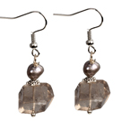 Beautiful Irregular Shape Smoky Quartz Natural Gray Pearl Dangle Earrings