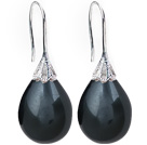 Classic Design Drop Shape Black Color Seashell Beads Earrings