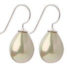 Classic Design Drop Shape Light Yellow Green Color Seashell Beads Earrings