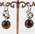 Nice Short Style 12Mm Round Tiger Eye And Loop Metal Charm Earrings With Ear Hoops