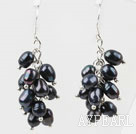 Wholesale Cluster Style Rice Shape Black Freshwater Pearl Earrings