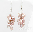 Wholesale Cluster Style Rice Shape Natural Purple Freshwater Pearl Earrings