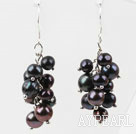 Wholesale Dangle Style Black Freshwater Pearl Earrings