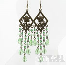 Vintage Style Light Green Crystal Long Earrings