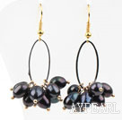 Wholesale New Design Black Freshwater Pearl Earrings
