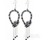 New Style Black Series Black and Gray Crystal Tassel Fashion Earrings