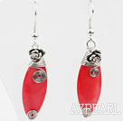 Simple Style Horse Eye Shape Watermelon Red Shell Earrings