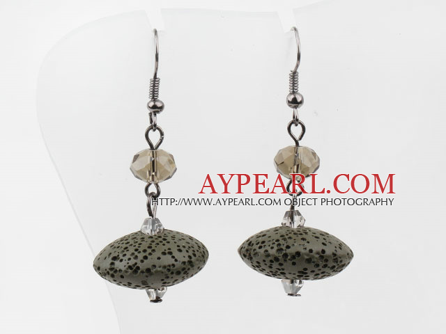 Simple Style Ufo Shaped Volcanic Stone And Crystal Drop Earrings With Fish Hook