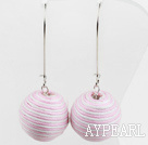 Lovely Pink And White 20Mm Lint Ball Drop Earrings With Hook Earwires