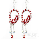 New Style Red Series Red and Clear Crystal Tassel Fashion Earrings