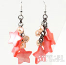 Pink Series Pink Pearl og stjerne Shape Shell Dangle øredobber