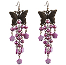 Vintage Style Chandelier Shape Purple Pearl Shell Flower Dangle örhängen med fjäril brons tillbehör