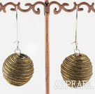 20Mm Golden Brown Lint Line Ball Dangle Earrings With Lever Back Hook