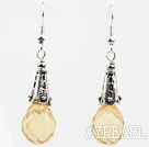 Wholesale Drop Shape Faceted Light Yellow Crystal Earrings