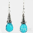 Wholesale Drop Shape Faceted Lake Blue Crystal Earrings
