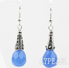 Drop Shape fasettert Blue Crystal øredobber