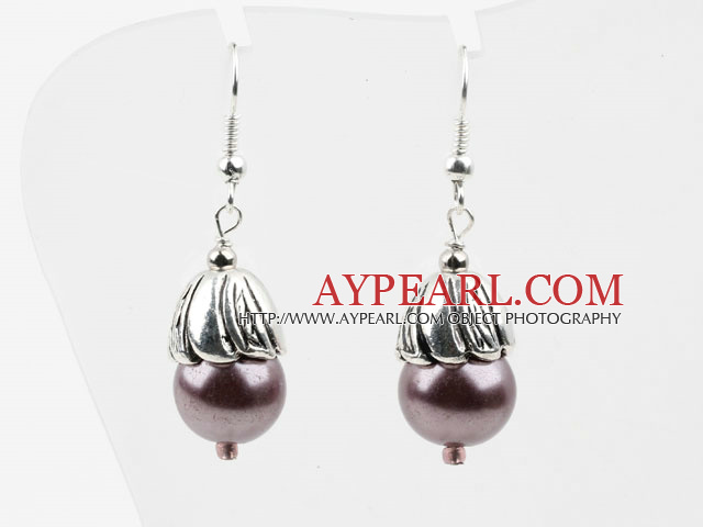 Simple Style Purple Seashell Beads Earrings