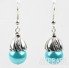 Simple, style Blue Lake Perles de coquillage Boucles d'oreilles