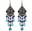 Vintage Style Chandelier Shape Blue Pearl Shell Dangle Earrings With Rhombus Bronze Accessory