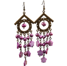 Vintage Long stil lysekrone Shape Purple Red Pearl Shell Flower Dangle øredobber