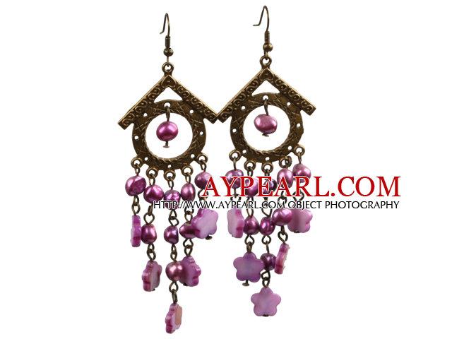 Vintage Long Style Chandelier Shape Purple Red Pearl Shell Flower Dangle Earrings