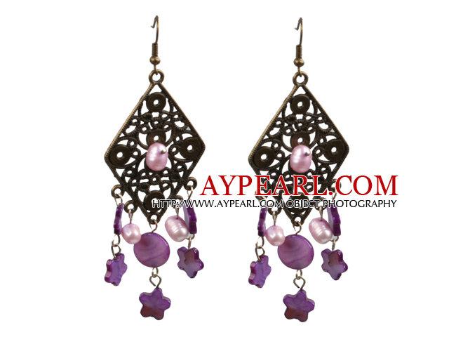 Vintage Style Chandelier Shape Pink Purple Pearl Shell Dangle Earrings With Rhombus Bronze Accessory