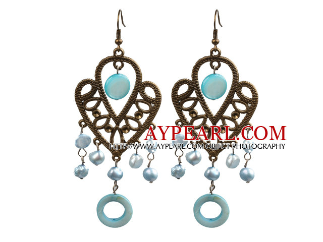 Vintage Style Chandelier Shape Light Blue Pearl Shell Dangle Earrings With Heart Shape Bronze Accessory