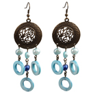 Vintage Style Chandelier Shape Blue Pearl Donut Shape Shell Dangle Earrings