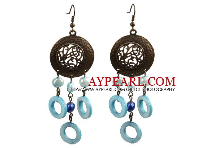 Vintage Style Chandelier Shape Blue Pearl Donut Shape Shell Dangle Earrings