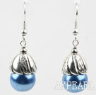 Simple Blue Style Perles de coquillage Boucles d'oreilles