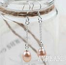 Wholesale Classic Design Dangle Style Natural Purple Freshwater Pearl Bridal Earrings