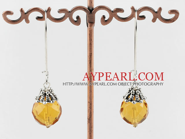 Lovely 14Mm Swiss Citrine Ball Drop Earrings With Hoop Earwires