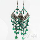 Vintage Style Faceted Green Agate Tassel Chandelier Earrings