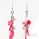 Hot Pink Series Pink Ferskvann Pearl og Hot Pink Shell Flower Dangle øredobber