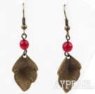 Vintage Style Rose Red Agate Earrings with Bronze Leaves Accessories