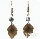 Vintage Style Gray Crystal Earrings with Bronze Leaves Accessories