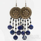 Vintage Style Lapis Earrings with Bronze Flower Accessories