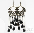 Vintage Style Black Agate Long Earrings