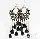 Wholesale Vintage Style Black Agate Long Earrings