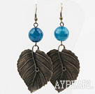 Vintage Style Faceted Blue Agate Earrings with Bronze Leaves Accessories