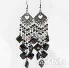 Long Style Black and Clear Crystal and Lined Agate Chandelier Earrings