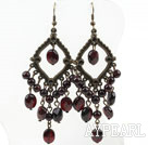 Vintage Loop Round And Faceted Oval Garnet Dangle Earrings With Copper Charm