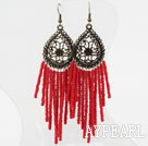 Wholesale Immitation Red Coral Tassel Long Style Earrings