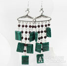 Wholesale Garnet and Rectangle Shape Manmade Malachite Stone Earrings