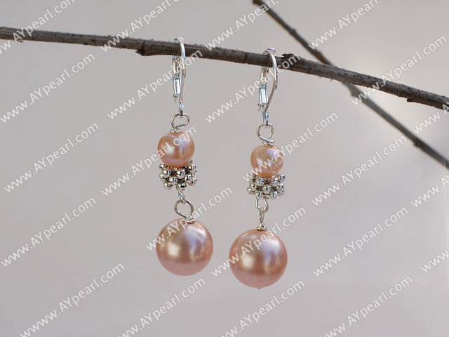 natual pink pearl and sea shell beads pearl earings
