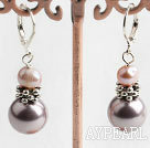 Wholesale natural pink pearl and sea shell beaded earrings