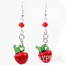 Wholesale Dangle Style Red Crystal and Red Apple Shape Colored Glaze Charm Earrings